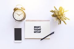 Inspirational and motivation quote - Make today great stock image