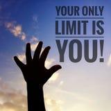 Inspirational motivation quote on nature background. stock illustration