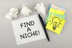 Inspirational Motivational Business Phrase Note Find A Niche. Find a niche note paper royalty free stock photo