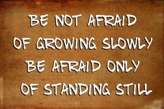 Inspirational motivational quote. – Be not afraid of growing slowly Be afraid only of standing still – quote on blurred vintage grunge background Stock Photography