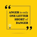 Inspirational motivational quote. Anger is only one letter short. Of danger. Simple trendy design Vector Illustration