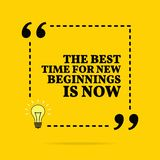Inspirational motivational quote.The best time for new beginning is now. Vector simple design. Black text over yellow background vector illustration