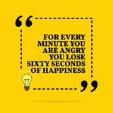 Inspirational motivational quote. For every minute you are angry you lose sixty second of happiness. Vector simple design stock images