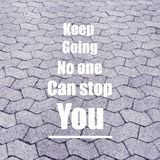 Inspirational quote. Inspirational Motivational quote `keep going no one can stop you` on blurred background with vintage filter Stock Photo