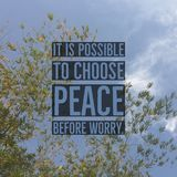 Inspirational motivational quote `It is possible to choose peace before worry`. On bamboo leaf and sky background stock images