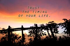 Free Inspirational Motivational Quote - Trust The Timing Of Your Life. On Beautiful Abstract Nature Background Stock Photo - 181058200