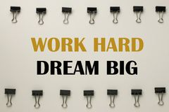 Inspirational quote. Inspirational Motivational quote `work hard dream big` on blurred background Royalty Free Stock Photography
