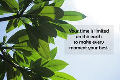 Free Inspirational Motivational Quote-Your Time Is Limited On This Earth, So Make Every Moment Your Best. Stock Photo - 158836750