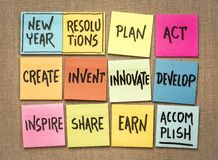 Inspirational New Year resolutions on sticky notes. Inspirational New Year resolutions, handwriting on sticky notes royalty free stock photo