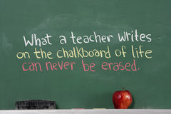Inspirational phrase for teacher appreciation. Written on chalkboard of classroom Stock Photos