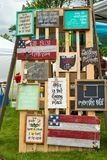 Inspirational plaque display at festival Stock Image