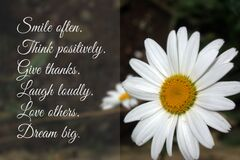 Free Inspirational Positive Words - Smile Often. Think Positively. Give Thanks. Laugh Loudly. Love Others. Dream Big. Royalty Free Stock Image - 213110066