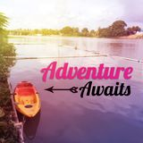 Inspirational quote `Adventure awaits`. On blurred background with vintage filter royalty free stock photography