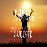 Inspirational quote background with joyous female Stock Image