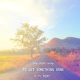 Inspirational quote on blur background Stock Photography