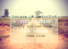 Inspirational quote on blurred background royalty free stock images