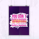 Inspirational Quote Build business with your people - poster mock up for your wall with starry night on background. Stock Illustration