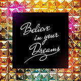 Inspirational quote design on  shiny diamonds background Stock Images