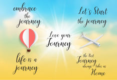 Inspirational quote -embrace the journey.life is a journey.Let`s Stock Photos