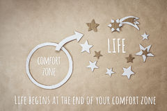 Inspirational quote and encouragement to leave your comfort zone Royalty Free Stock Images