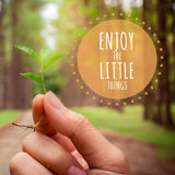 Inspirational quote on Hands holding small plant show conservati Royalty Free Stock Photography