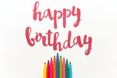 Inspirational quote `Happy birthday` for greeting cards and posters. Inspirational phrase `Happy birthday` for greeting cards and posters drawing with red royalty free stock photography