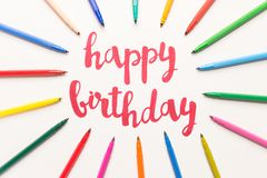 Inspirational quote `Happy birthday` for greeting cards and posters. Motivational phrase `Happy birthday` for greeting cards and posters drawing with red marker royalty free stock images