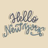 Inspirational quote Hello New York. Hand lettering design element. Ink brush calligraphy royalty free stock images