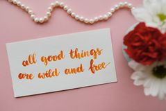 Inspirational quote. All good things are wild and free written in calligraphy style with watercolor. Composition on a pink background Royalty Free Stock Images