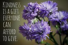Free Inspirational Quote  - Kindness Is A Gift Everyone Can Afford To Give. With Background Of Blue And Purple Flowers. Royalty Free Stock Photos - 188330078