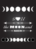 Inspirational quote Love quote lettering I love you to the moon and back with different moon phases Lunar black and white poster Stock Photo