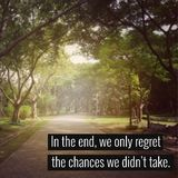 Inspirational quote. Inspirational Motivational quote `In the end,we only regret the chances we didn`t take` on blurred background with vintage filter Royalty Free Stock Photography