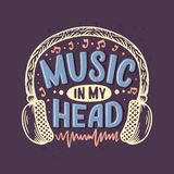 Inspirational quote about music. Hand drawn vintage illustration with lettering. Phrase for print on t-shirts and bags, stationary vector illustration