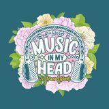 Inspirational quote about music. Hand drawn vintage illustration with lettering. Phrase for print on t-shirts and bags. Stationary or as a poster. Vector vector illustration