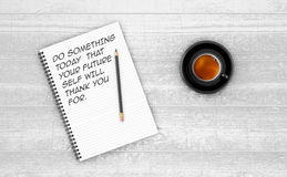 Inspirational quote on notepad. Royalty Free Stock Images