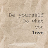 Inspirational quote poster, typographical design - Be yourself d Stock Image