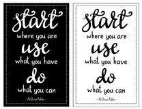Inspirational quote Start where you are... Stock Photo
