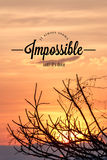Inspirational quote by unknown source on sunset Royalty Free Stock Photos