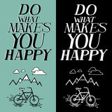 Inspirational quote. Vector text with bicycle and mountain doodle. Hand lettering for invitation and greeting card, prints and posters. Hand drawn typographic vector illustration