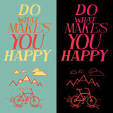 Inspirational quote. Vector text with bicycle and mountain doodle. Hand lettering for invitation and greeting card, prints and posters. Hand drawn typographic royalty free illustration