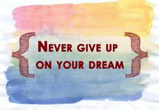 Inspirational quote with water color texture Stock Image