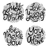 Inspirational quotes for Mental Health Day. Motivational and Inspirational quotes sets for Mental Health Day. Just breathe, love yourself, be more you, you are stock illustration