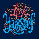 Inspirational quotes for Mental Health Day. Motivational and Inspirational quotes for Mental Health Day. Love yourself. Design for print, poster, invitation, t royalty free illustration