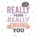 Inspirational romantische en liefdekaart met Royalty-vrije Stock Afbeelding
