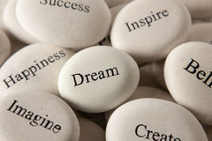 Inspirational stones - Dream stock image