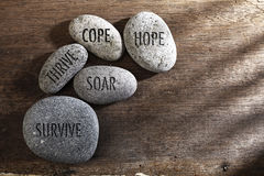 Inspirational stones. Pebbles or stone with inspirational text hope, cope, survive, thrive and soar text on a zen stones royalty free stock images