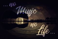 No music - no life. Inspirational text, no music - no life, over guitar island background with trees arranged in a shape of a guitar and a starry night sky with Stock Photo