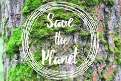 Inspirational text Save the planet on the tree bark background Royalty Free Stock Images