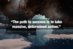 Inspirational Typographic Quote. The path to success is to take massive, determined action Royalty Free Stock Images