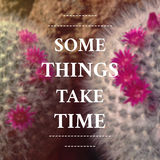 Inspirational Typographic Quote - Some Things take time. On blurred background Royalty Free Stock Photo